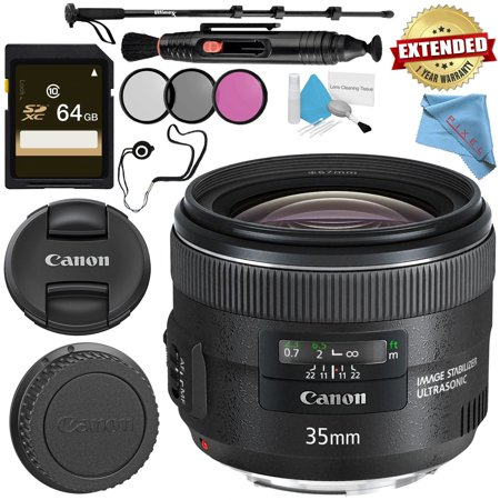 Canon EF 35mm f/2 is USM Lens + 67mm 3 Piece Filter Kit + 64GB SDXC Card + Lens Pen Cleaner + Fibercloth + Lens Capkeeper + Deluxe 70