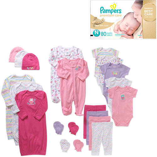 Garanimals Newborn Baby Girl 21 Piece Shower Gift + Pampers Disposable Diapers Value Bundle