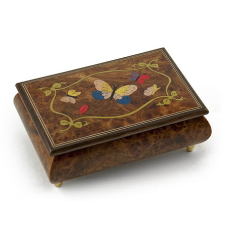 Gorgeous 30 Note Graceful Butterfly with Ribbon Outline Wood Inlay Music Box - Blue Danube ()