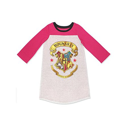 Harry Potter Hogwarts Girls Long Sleeve Nightgown Pajamas (6, Pink/Grey) - Hogwarts Robe