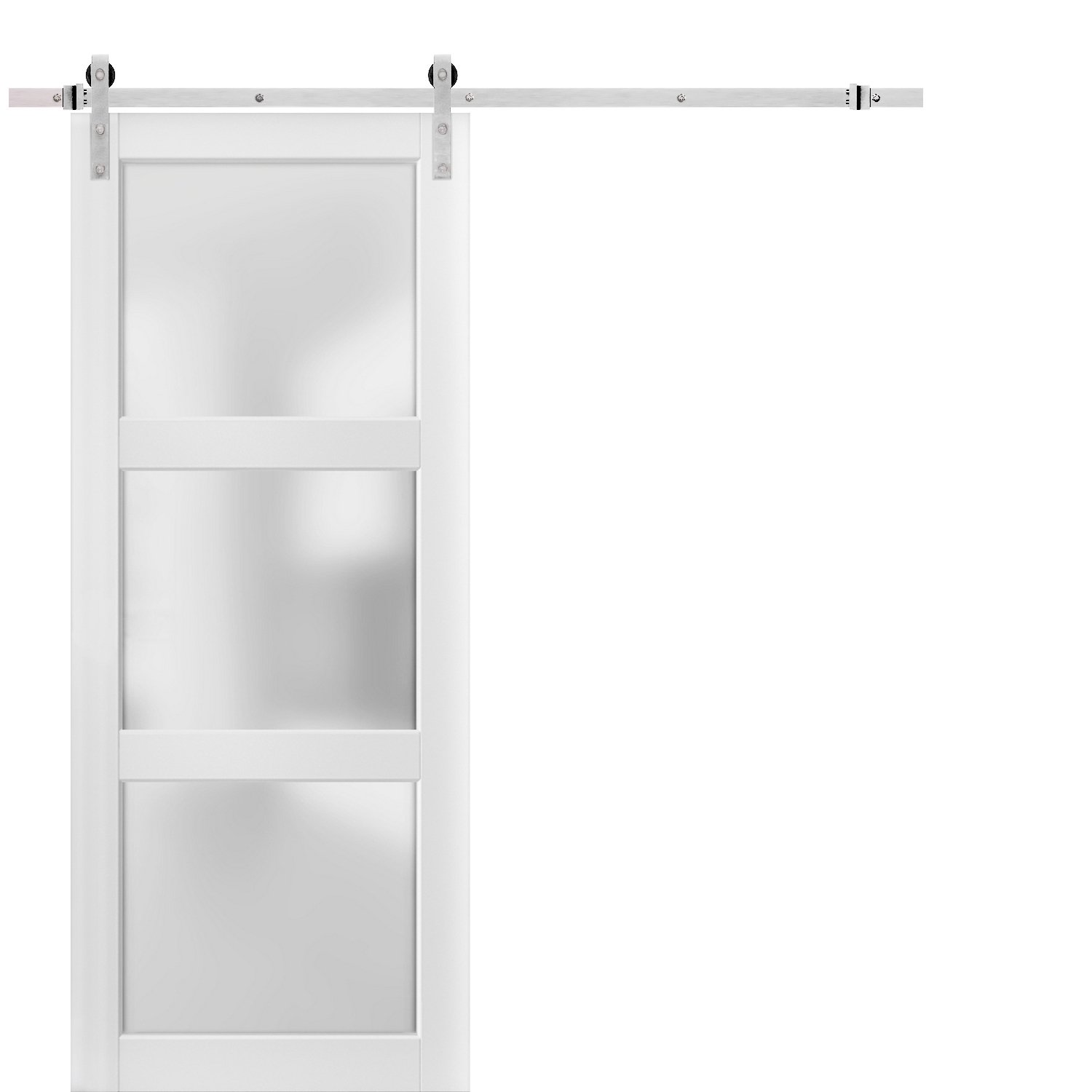 Sturdy Barn Door 18 x 80 inches Frosted Glass Solid Panel Interior Doors Top Mount Stainless Steel 6.6FT Rail Hangers Heavy Set Lucia 2552 Matte Black