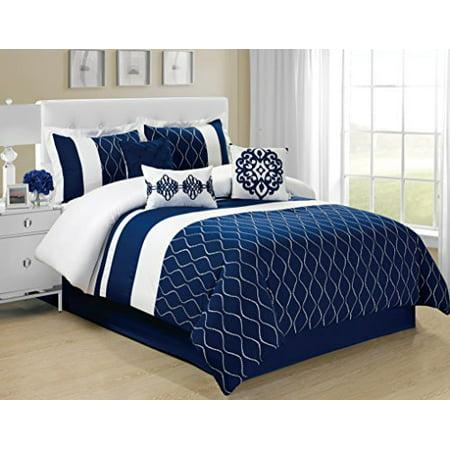 7 Piece Malibu Wave Embroidery Clearance Bedding Comforter Set