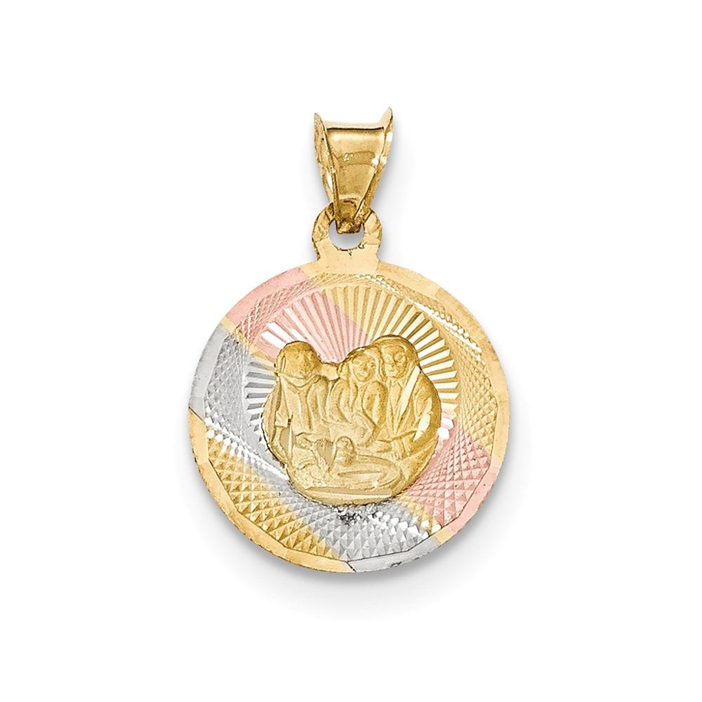 14k Yellow Gold and Rhodium Polished and Diamond Cut Baptism Circle Pendant