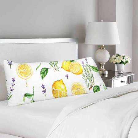 GCKG Watercolor Yellow Lemons Lavender Body Pillow Covers Pillowcase 20x60 inches, Fruit Flower Body Pillow Case Protector - image 1 of 2