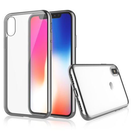 iPhone X Case, Apple iPhone X Case, iPhone X Case For Girls, Njjex iPhone 10 Case Cover Crystal Shock-Absorption Soft TPU Bumper and Anti-Scratch Ultra Sturdy Slim Case For Apple iPhone X - Gray