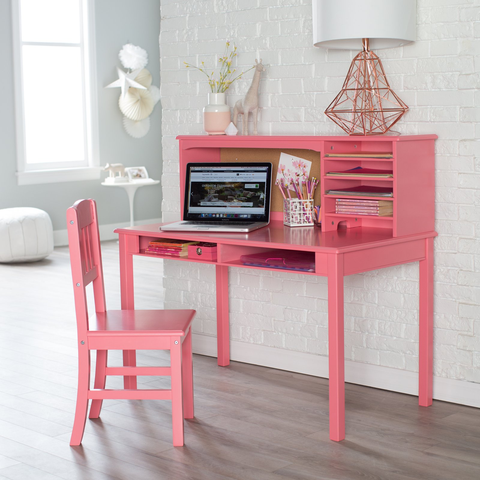 Guidecraft Media Desk & Chair Set - Coral
