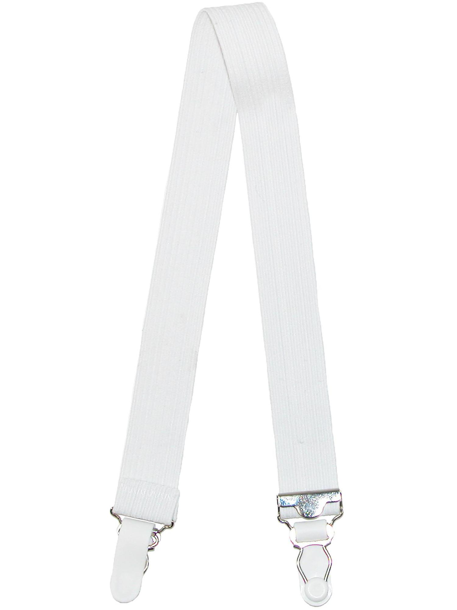 Made in the U.S.A.! White Naval 4 Piece Straight Shirt Garters //Shirt Stays