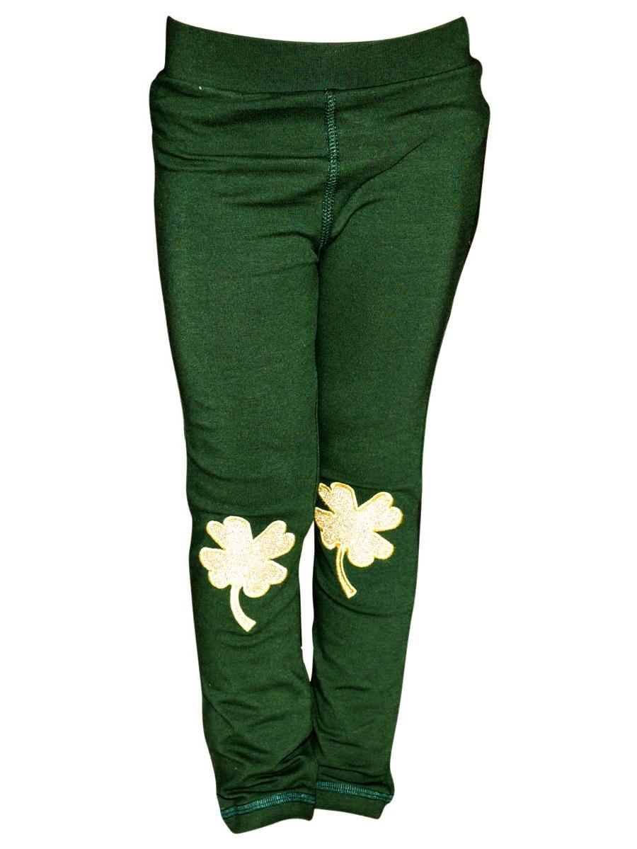 Unique Baby Girls St Patricks Day Gold Clover Leggings