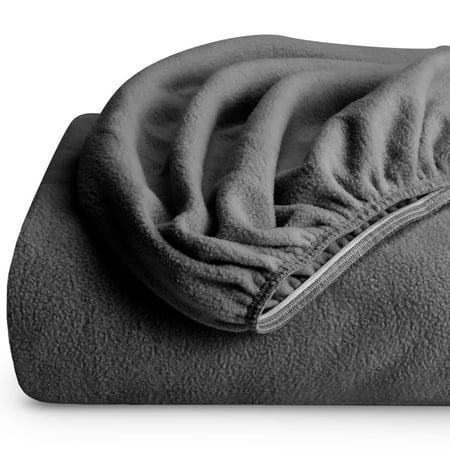 Fleece Fitted Bottom Sheet Hypoallergenic Deep Pocket Ultra Soft Micro Fleece (Queen, Gray) ()