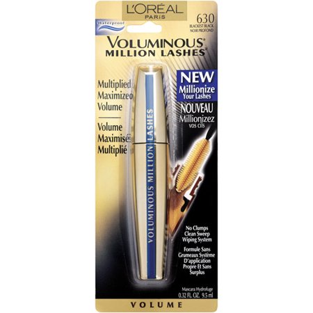 L'Or ©al Paris Voluminous Million Lashes Waterproof Mascara, Blackest Black, 0.32 Fl Oz