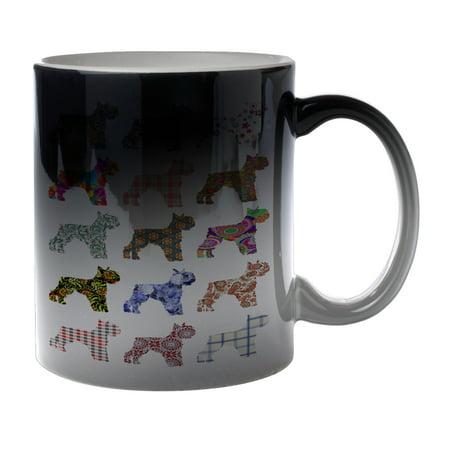 KuzmarK Black Heat Morph Color Changing Coffee Cup Mug 11 Ounce - Schnauzer Dog (Kids Black Morph Suit)
