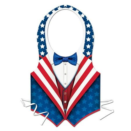 Club Pack of 24 Stars and Stripes Plastic Patriotic Vest Costume Accessory