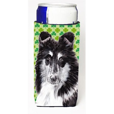 Black And White Collie Lucky Shamrock St. Patricks Day Michelob Ultra bottle sleeves Slim Cans  12 Oz. - image 1 de 1