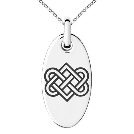 Stainless Steel Irish Heart Love Knot Engraved Small Oval Charm Pendant Necklace
