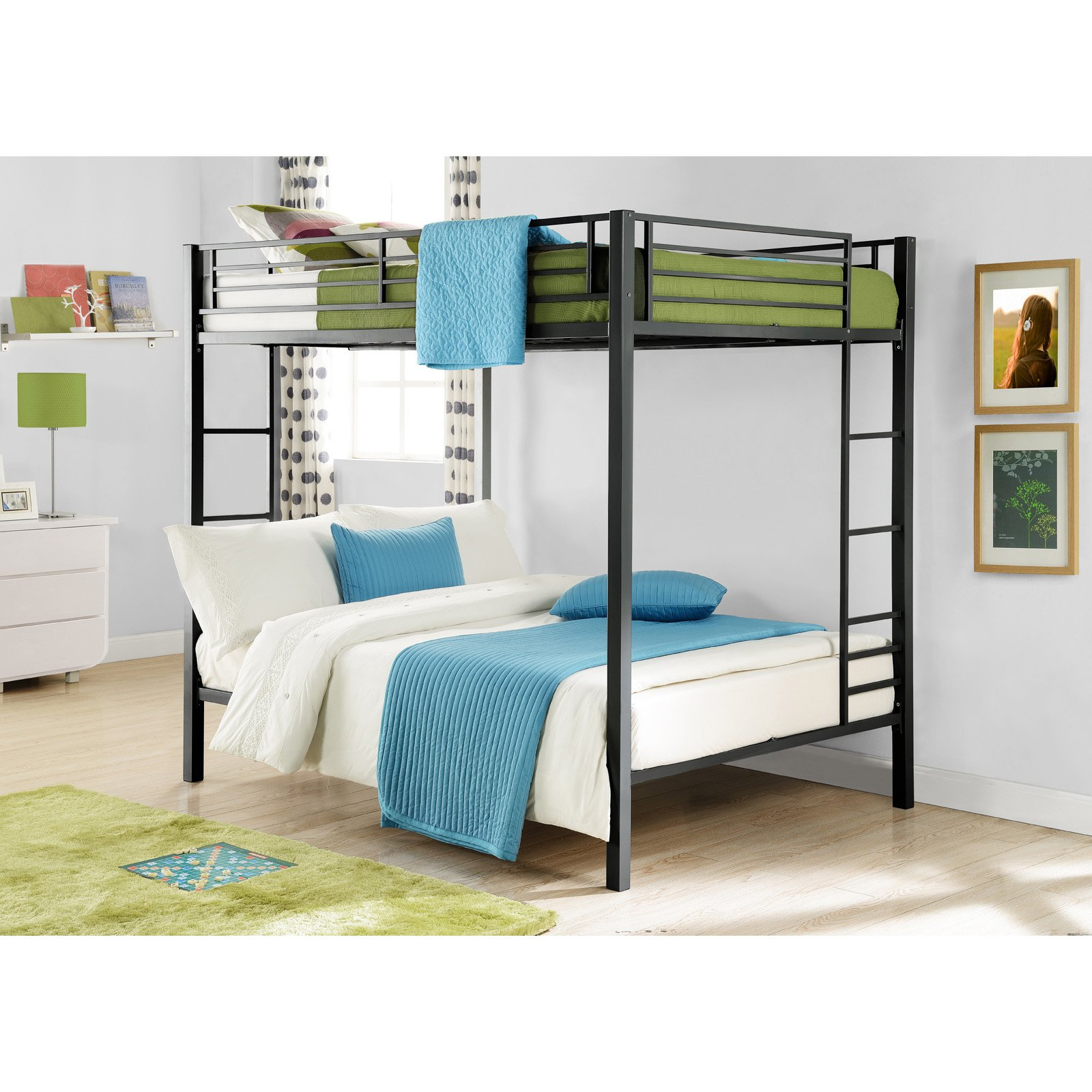 Dorel Full Over Full Metal Bunk Bed, Multiple Finishes - Walmart.com