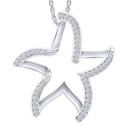 14k White Gold Diamond Star Necklace (0.18 Carat (cttw) Round White Natural Diamond Star Fish Pendant Necklace 14k White Gold Over Sterling Silver)