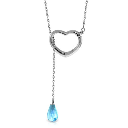 ALARRI 14K Solid White Gold Heart Necklace w/ Drop Briolette Natural Blue Topaz with 22 Inch Chain