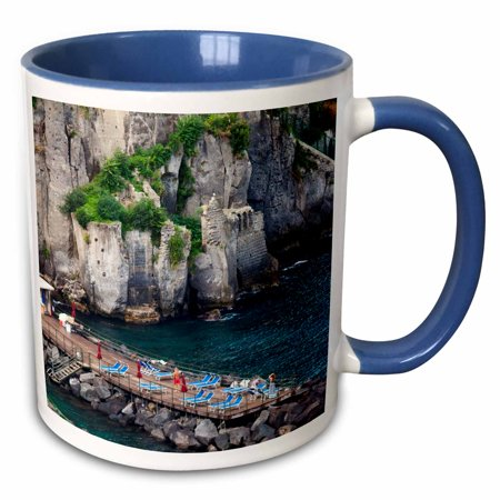 3dRose Italy, Sorrento, Amalfi Coastline, Sun Bathing Dock - EU16 TEG0513 - Terry Eggers - Two Tone Blue Mug, 11-ounce