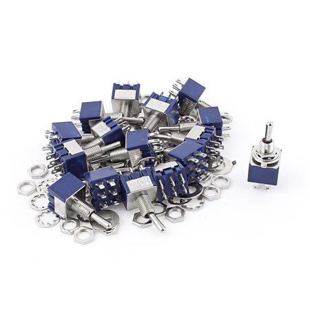 20Pcs  125V 6A 6Pin ON-OFF-ON 6mm Thread DPDT Locking  Toggle (Threaded Toggle)