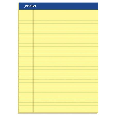 Ampad Legal Pad - Ampad 20-270 Evidence Perf 8-1/2x11-3/4 Legal Rule Pads, Margin, Canary, 50 Shts, Doz.