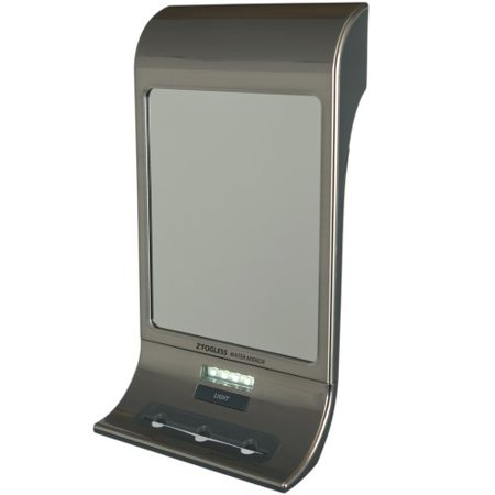 Zadro Z Fogless Water Mirror with LED Light Panel and Tri Accessory Holder, 6-Inch, Stainless Steel
