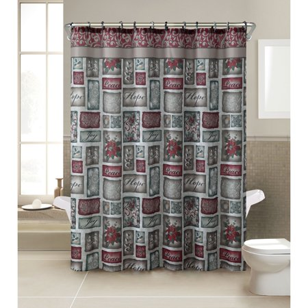 VCNY Patchwork 13 Piece Christmas Themed Holiday Shower Curtain And Hook Set