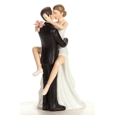 Funny Sexy Wedding Cake Topper with Bride and Groom | Fun, Sexy, Humorous Figurine | Fine Porcelain | 5.5 Inches, Wonderful Keepsake - A great memento for new.., By Wedding Collectibles (Camo Wedding Cakes)