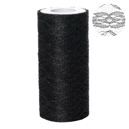 Lace Decorations (Floral Shimmer Lace Glitter Tulle Fabric Roll For Wedding Party Decorations - Black- 6