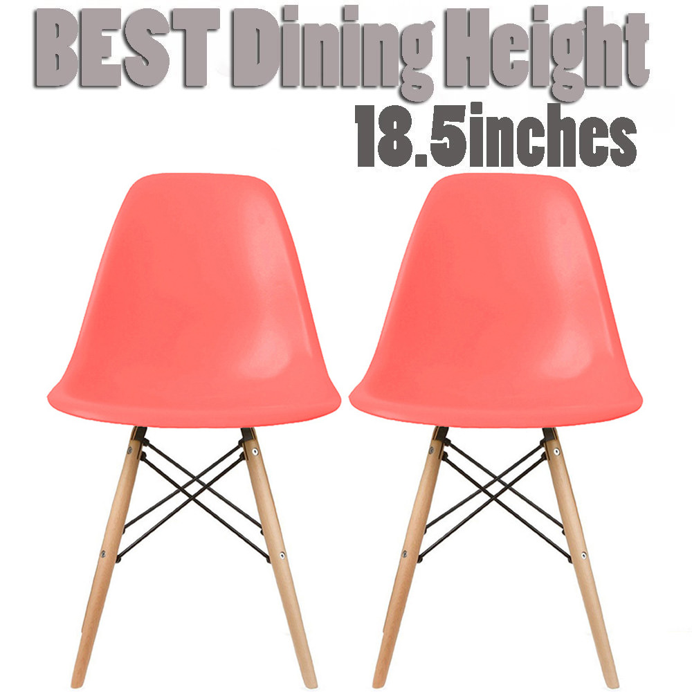 2xhome Set of 2 Teal Mid Century Modern Contemporary Vintage Molded Shell Designer Side Plastic Eiffel Chairs Wood Legs for Dining Room Living Office Conference DSW Desk Kitchen Comfortable