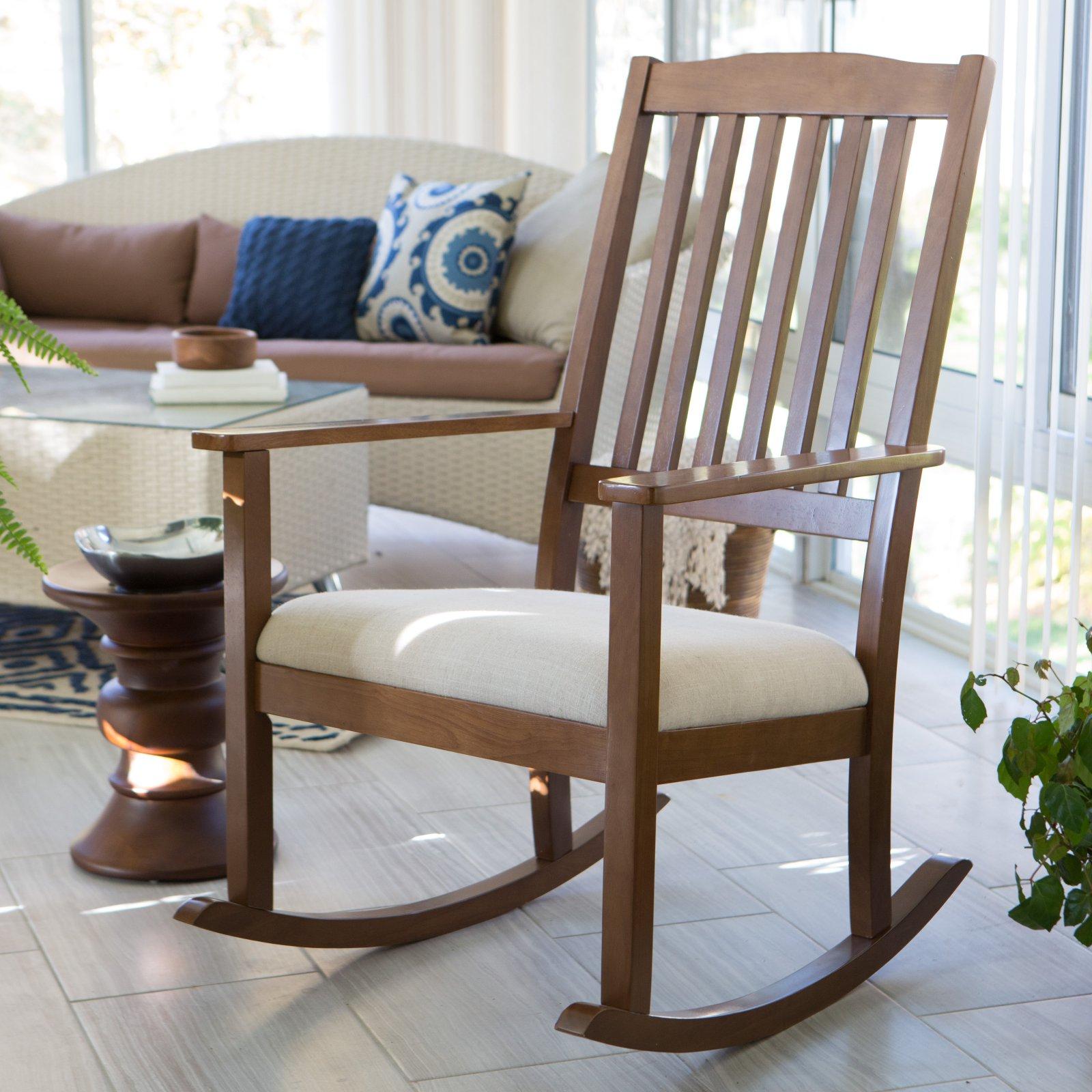Belham Living Upholstered Mission Wood Nursery Rocker - Weathered Espresso
