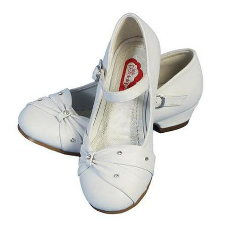 Angels Garment Little Girls White Bow Rhinestone Strap Heeled Shoes 11-3 Kids