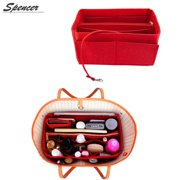 "Spencer Felt Insert Bag Organizer with Zipper Makeup Purse Bag in Bag Handbag Tote Organizer Fit for Speedy Neverfull (11""*6.7""*4.7"",Red)"