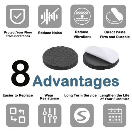 Furniture Pads Adhesive Rubber Pads 30mm Dia 4mm Thick Round Black 48Pcs - image 3 of 5