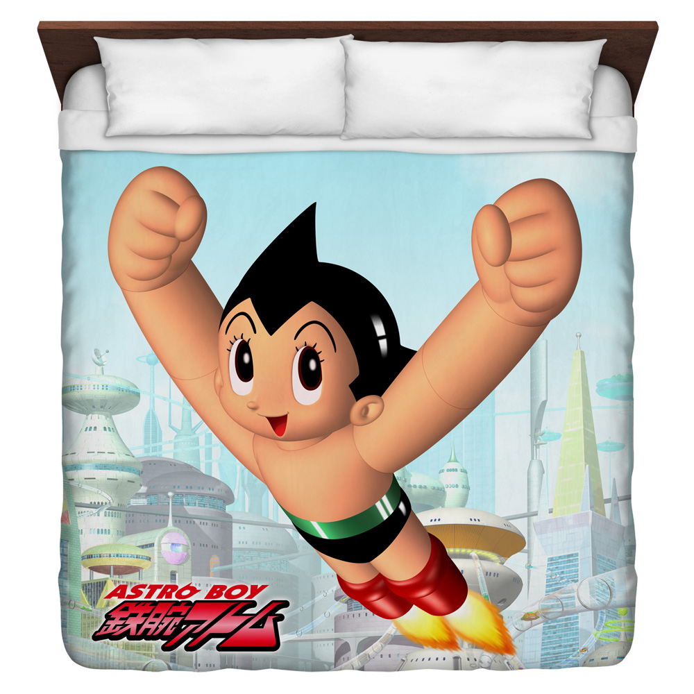 Astro Boy City Boy King Duvet Cover White 104X88