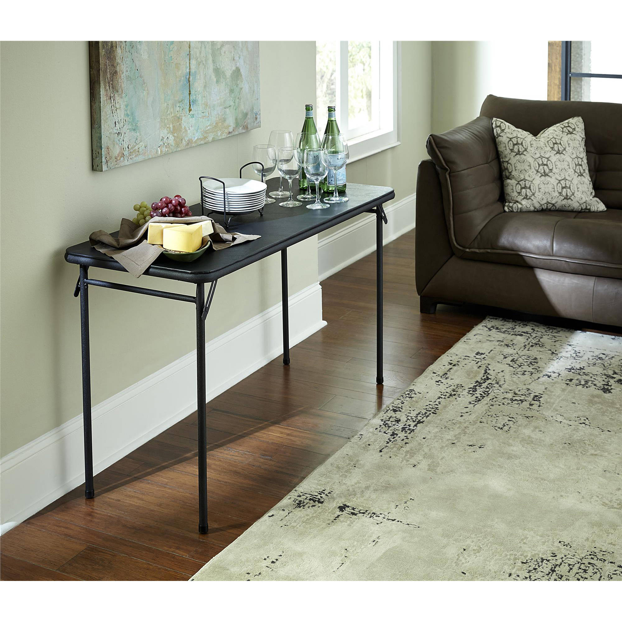 "Cosco 20"" x 48"" Vinyl Top Folding Table, Black"