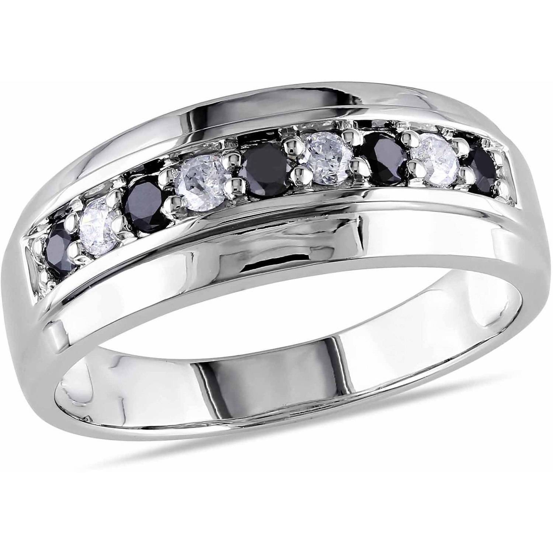 Asteria 1/2 Carat T.W. Black and White Diamond 10kt White Gold Men's Semi-Eternity Anniversary Ring