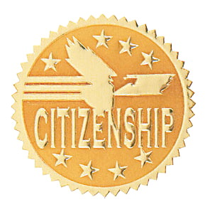 Hammond & Stephens Citizenship Gold Foil Embossed Seal, 1-13/16 in, Pack of 54