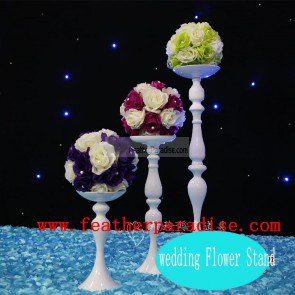 Flower Floral Feather Ball Stand /Pillar Candle Holder Wedding Centerpiece Reversible - White 15 inch - Feather Ball Centerpieces Sale