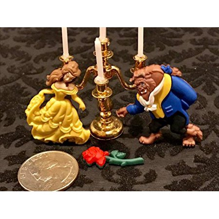 Beauty and The Beast Belle Gold Miniature Brass Candelabra Cake Mini Decoration