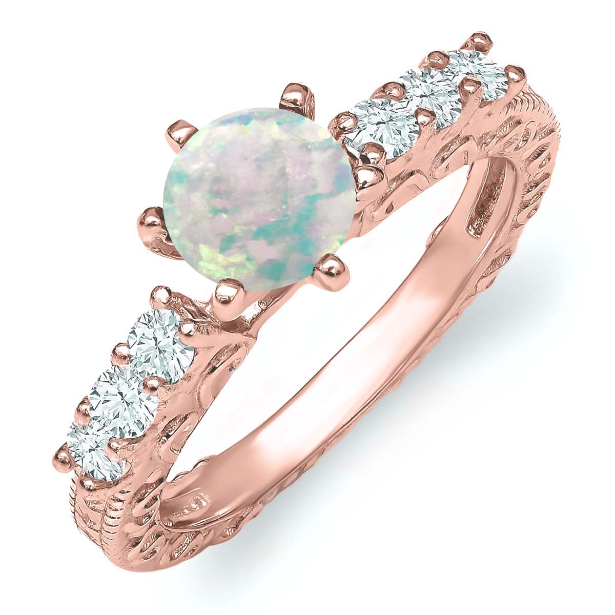 0.95 Ct Round Cabochon White Simulated Opal 18K Rose Gold Plated Silver Ring by