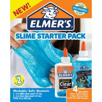 Elmer's Glue Slime Starter Kit, Clear School Glue & Blue Glitter Glue, 4 Count