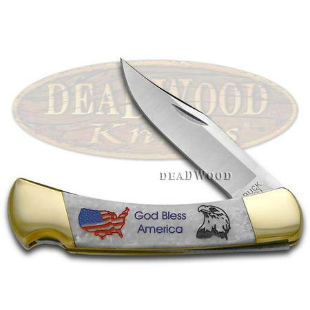 BUCK 110 God Bless America White Pearl Custom Corelon Folding Hunter Stainless Pocket