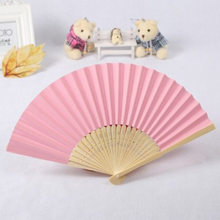 DIY Summer Bamboo Folding Hand Held Fan Chinese Dance Party Solid Color Fan - image 7 de 10