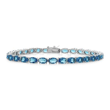 10 00 Carat Simulated Blue Topaz Tennis Bracelet In Sterling Silver 7 5