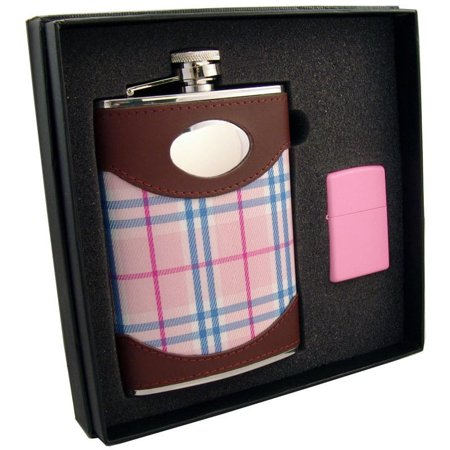 Visol  Lola Leather & Pink Plaid Elite Flask & Zippo Pink Matte Lighter Gift Set - 8 ounces - Leather Cigar Flask Set
