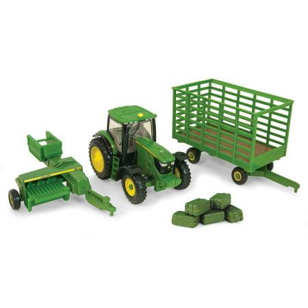 John Deere Toy Tractor Set, 338 Baler & Bale Wagon Hay Set, 1:64 Scale