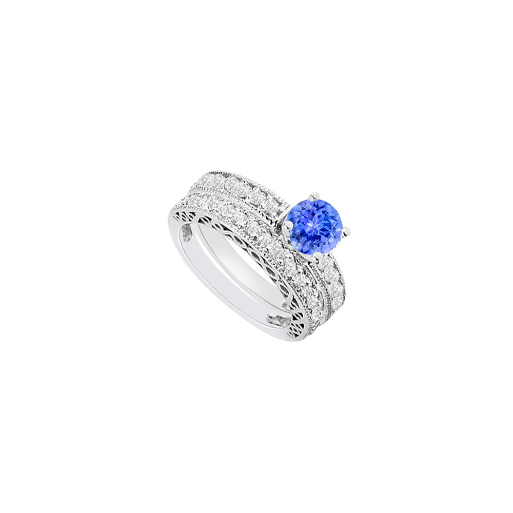 14K White Gold Created Tanzanite and Cubic Zirconia Engagement Ring with Wedding Band Set 1.50 C by Love Bright