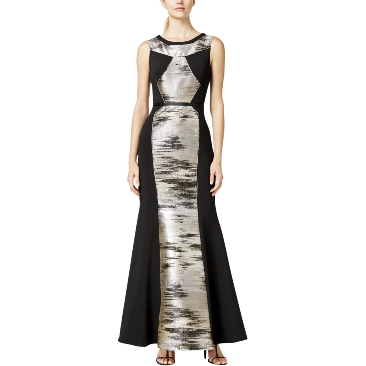 JS Collections Womens Metallic Mixed Media Evening Dress