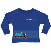 Personalized Thomas & Friends Stripe Toddler Boy Royal Blue Long Sleeve Tee