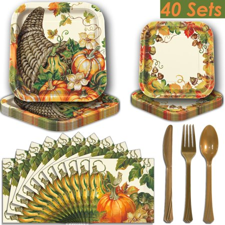 Fall Harvest Square Party Supplies for 40 - Dinner Plates, Dessert Plates, Luncheon Napkins, Gold Plastic Cutlery (Premier Strength). Thanksgiving and Autumn Theme Dinnerware](Thanksgiving Plates And Napkins)